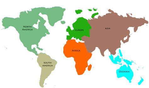 world map  continents identified