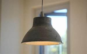 Concrete pendant light round top contemporary