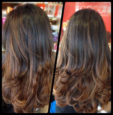 dark brown  caramel ombre  long layered haircut