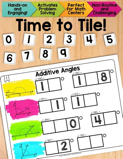 Algebra Tiles Worksheets 7th Grade by Math Tiles Additive Angles Math Centers Activities
