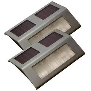 sunforce metallic solar powered led deck lights 2 pack