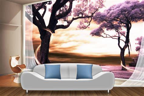 tapisserie chambre bébé garçon papier peint 3d paysage fantaisie romantique arbre violet