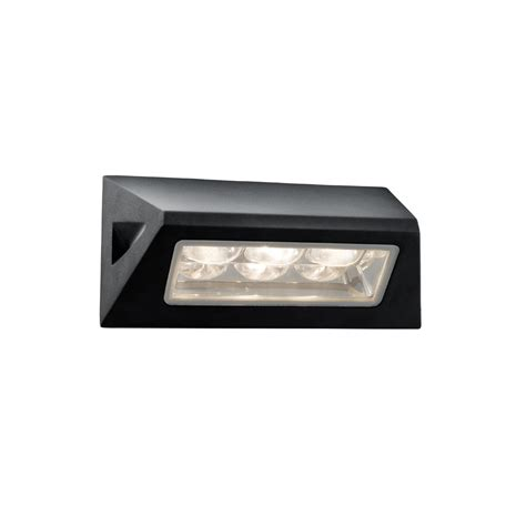 searchlight 5513bk led outdoor black glass wall light