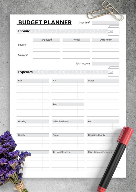 printable simple monthly budget template