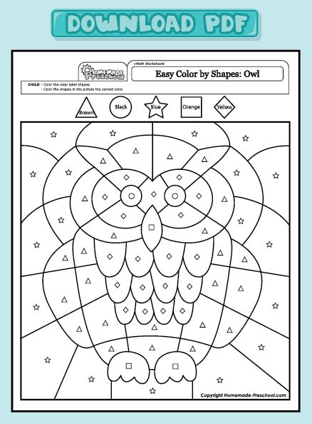 Coloring Pages Preschool Math Worksheets Color By Shapes Owl Color By Shapes Owl, Math