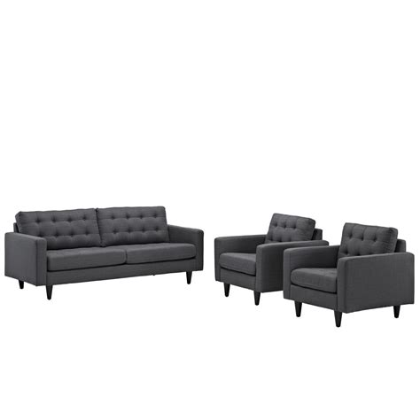 gray leather tufted sofa empress modern 3pc button tufted leather sofa and armchair