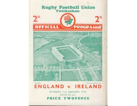 ENGLAND V IRELAND 1939 RUGBY PROGRAMME - England Rugby ...