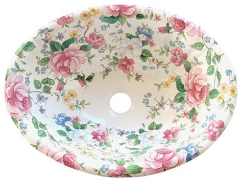 hand painted bathroom sinks chintz floral hand painted sink traditional bathroom