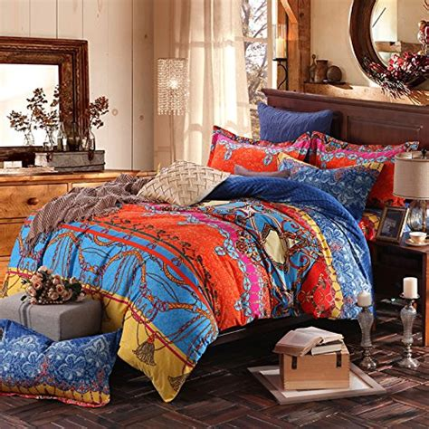 FADFAY Brand Colorful Exotic Bohemian Duvet Covers Queen King Size Boho Bedding Set   SHABBYCHIC