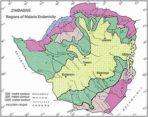 Map Of Zimbabwe Showing Regions Of Malaria Endemicity  The Regions Of