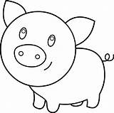 Pig Cute Coloring Clip Line Clipart Graphics Sweetclipart sketch template