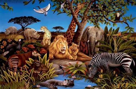 Animal Mural Wallpaper - new xl jungle animals wallpaper mural bedroom animal