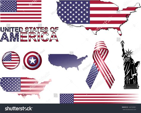 Usa Icons Set Vector Graphic Icons Stock Vector 164104961