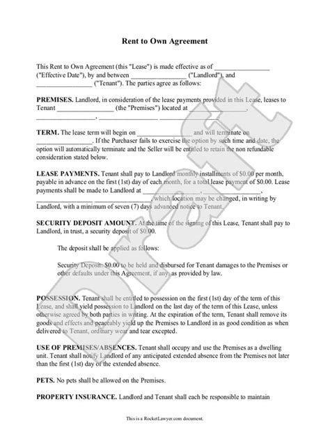 Rent To Buy Agreement Template Rent To Buy Contract Template Hire Purchase Agreement