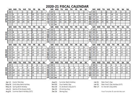 fiscal calendar template starts  april