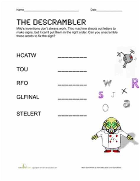 unscramble letters into words unscramble spelling words worksheet education