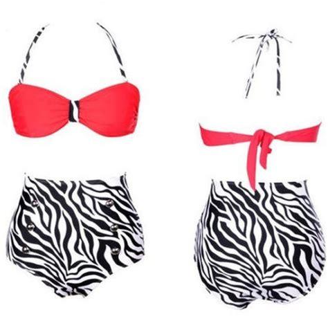 Retro Highwaist Red & Zebra Print Swimsuit Chaussure Boite