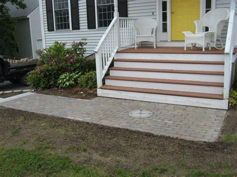 walkway steps walkway retaining wall granite steps and brick headwall kingston nh labrie property