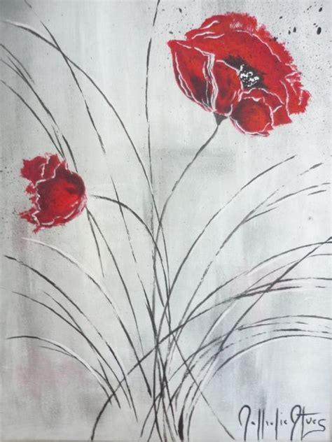 tableau peinture coquelicot moderne fleurs acrylique coquelicot tableaux