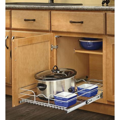 kitchen cabinet sliding organizers rev a shelf 7 in h x 11 375 in w x 20 in d base cabinet 5779
