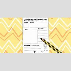 Dictionary Detective Worksheet  Dictionary, Literacy, English  Vocabulary Word Detective