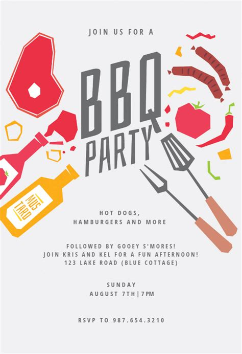 summer night bbq party invitation template