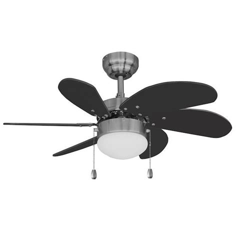 satin nickel 30 quot ceiling fan w light kit black blades
