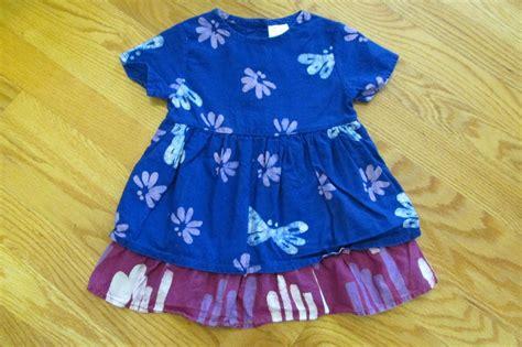Global Mamas Girls Size Mo Dress Blue Fuchsia Batik Floral Print Short Sleeve
