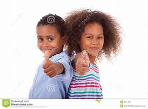 African American Boy And Girl Making Thumbs Up Gesture ...