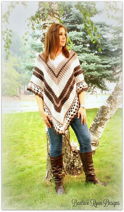 Crochet Poncho Pattern Cream Coffee Beatriceryandesigns