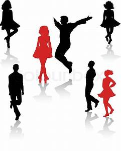 Dancers silhouette of national folk dance of Ireland ...