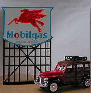 Mobilgas Gas Station Animated Neon Billboard Sign HO Scale