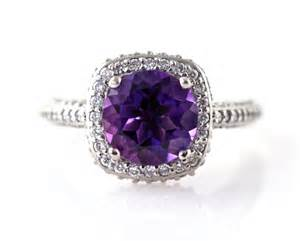 purple engagement ring 14k amethyst ring halo engagement ring 14k 18k white yellow gold platinum bridal