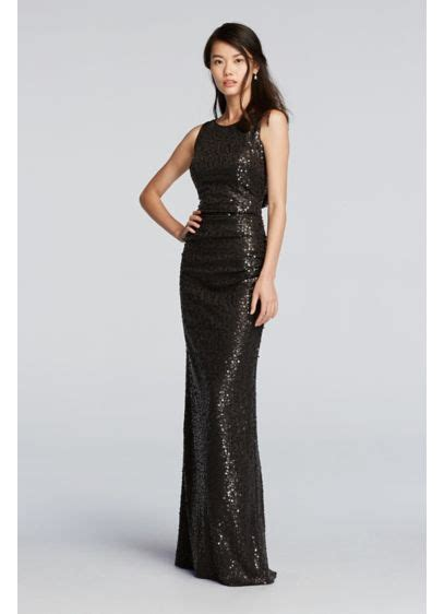 long sequin tank dress  cowl  davids bridal