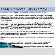 Academic Vocabulary Lesson Plan