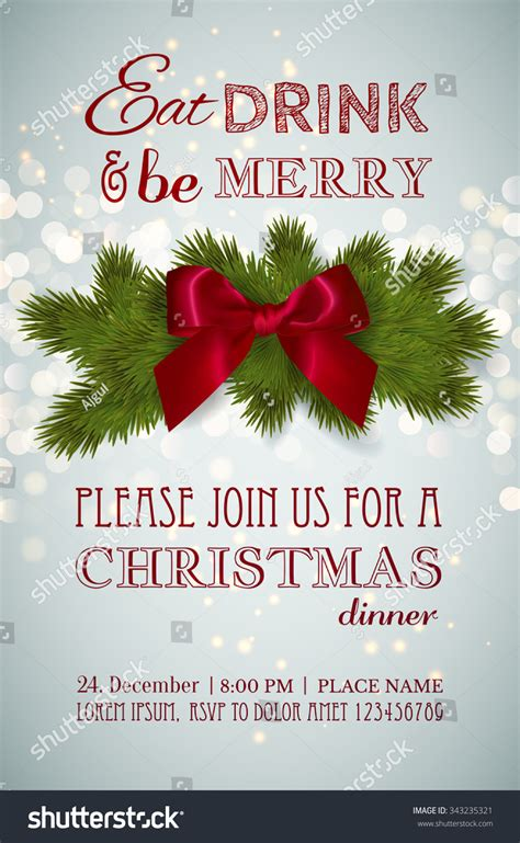Christmas Party Or Dinner Invitation Poster Flyer