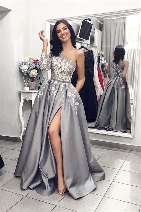 Long Sleeve Prom Dress,Lace Prom Dress,Split Evening Dress ...