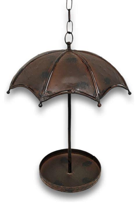 charming metal umbrella hanging bird feeder traditional