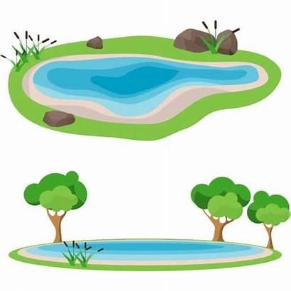 Pond Lake Clip Vector Illustrations Illustration Reeds