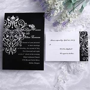 cheap classic black and white chandelier scroll wedding With inexpensive classic wedding invitations