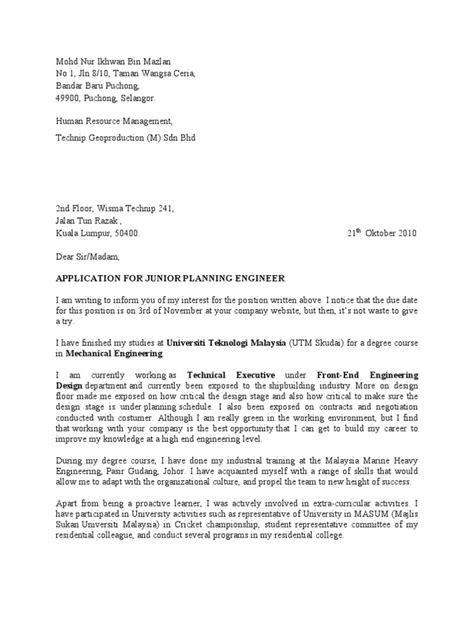 cover letter resume malaysia sle cover letter ikhwan
