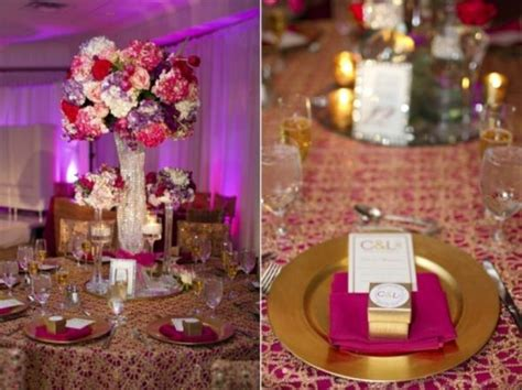 Fuschia purple and gold Gold wedding decorations Gold