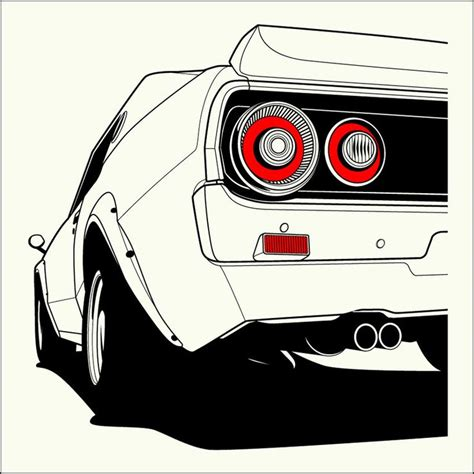 nissan skyline gt  kpgc art cars car illustration