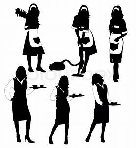 waitresses and cleaner silhouette collection | Stock Photo ...