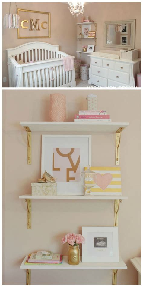 glam pink  gold nursery gorgeous shelf styling  gorgeous decor baby room nursery