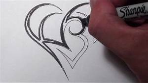 Creating a Heart With Initials Tattoo Design - YouTube