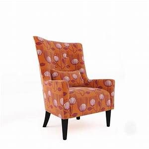 Handy, Living, Angelina, Orange, Modern, Tulip, Print, Shelter, High, Back, Wing, Chair-a142670