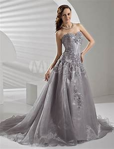 court train silver organza wedding dress with a line With silver dresses for wedding