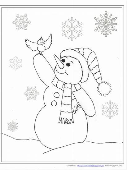 Snowman Coloring Cheerful Pages Christmas Happy Cards