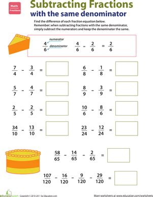 Introducing Fractions Subtracting Fractions  Worksheet Educationcom